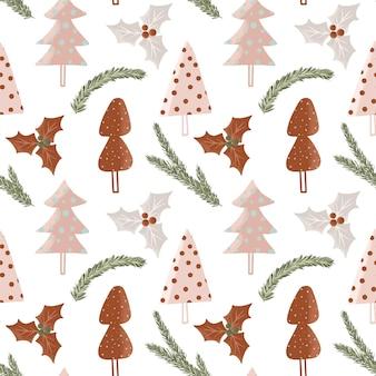 Weihnachtswinterstechpalmenbeeren und -blätter arrangieren nahtloses muster