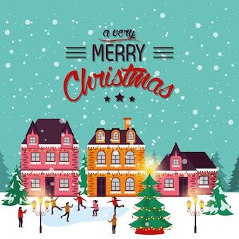 Weihnachtswinterstraßenbild mit den leuten glücklich
