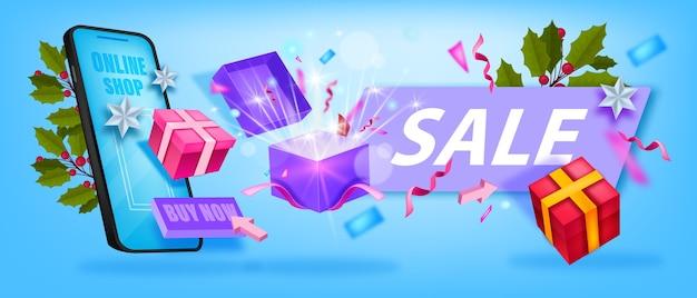 Weihnachtswinterverkauf bieten banner mit smartphone, geschenkboxen, überraschung, stechpalme, konfetti