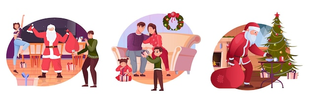 Weihnachtswohnungsillustrationssatz