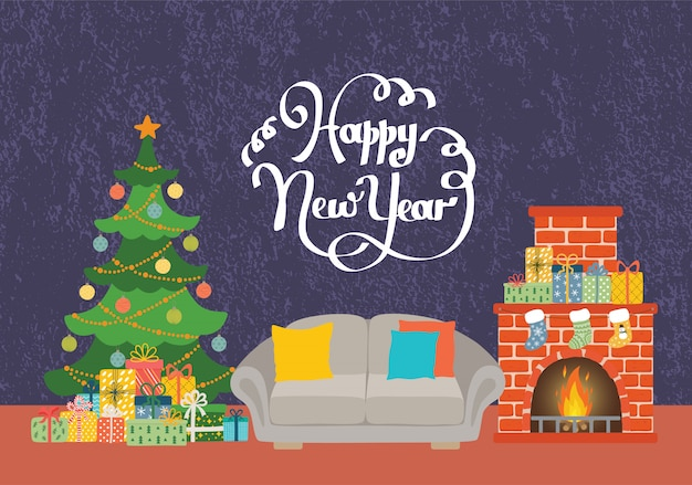 Weihnachtswohnzimmer mit sofa, kamin, weihnachtsbaum und geschenken. frohes neues jahr karte