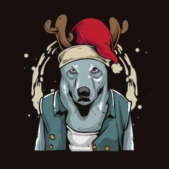 Weihnachtswolfkarikatur Premium Vektoren