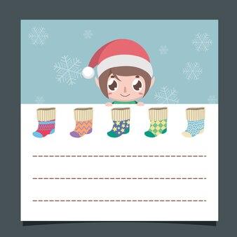 Weihnachtswunschliste mit einem niedlichen elf