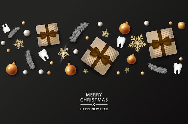 Weihnachtszahnarzt-banner mit 3d-zähnen auf band auf schwarzem hintergrund. frohe weihnachten-zahnplakat. frohes neues jahr. vektor