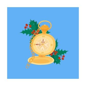 Weihnachtszauberzeit retro-uhr auf kette und stechpalme vektor