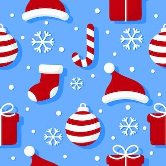 Weihnachtszeichen nahtlose muster auf blauem hintergrund