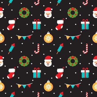 Weihnachtszeichen nahtlose muster auf schwarzem hintergrund
