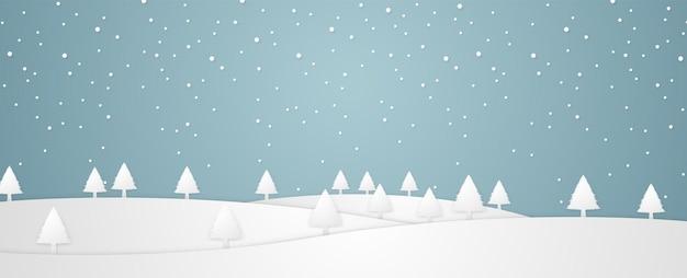 Weihnachtszeit mit winterlandschaft und schneefall im papierkunststil