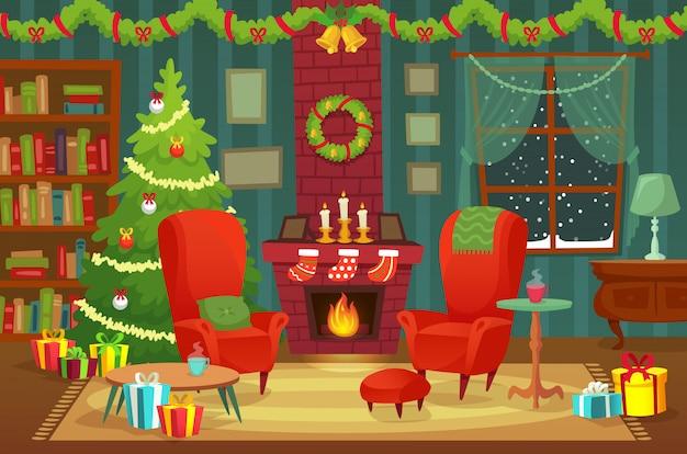 Weihnachtszimmer dekoriert. winterurlaubinnenraum mit lehnsessel nahe kamin und weihnachtsbaumkonzept
