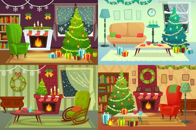 Weihnachtszimmer. inneneinrichtung, sankt-geschenke unter traditionellem baum in der hausinnenraumillustration