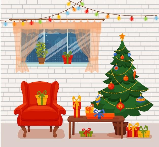 Weihnachtszimmer interieur im bunten cartoon flachen stil