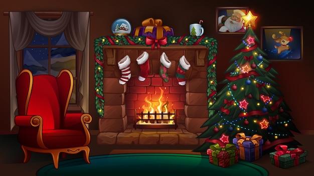 Weihnachtszimmer mit kamin. illustration