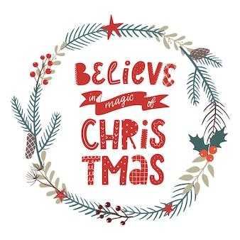 Weihnachtszitat mit kranz verziert
