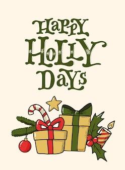 Weihnachtszitat mit kritzeleien für kartenplakat