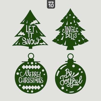 Weihnachtszitat-set. schneidefeile für aufkleber und dekoration