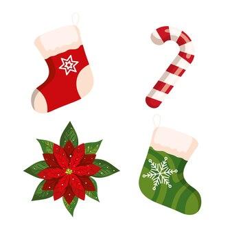 Weihnachtszuckerrohr und dekoratives ikonendesign