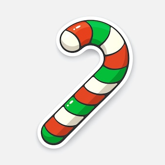 Weihnachtszuckerstange mit roten und grünen streifen mit konturvektorillustration