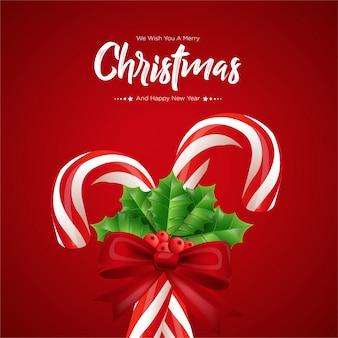 Weihnachtszuckerstangen auf rot