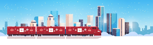 Weihnachtszug lok lokomotive versand transport für frohe weihnachten winterferien feier konzept horizontale schneebedeckte stadtbild flach