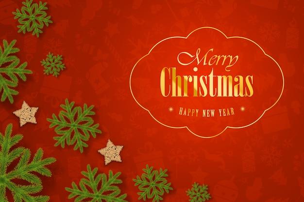 Weihnachtszusammensetzung auf gelbem hintergrund mit wunsch-bewaldeten sternen.