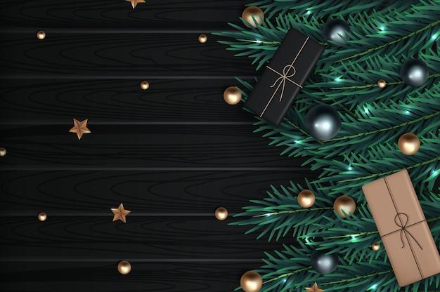 Weihnachtszusammensetzung auf holzoberfläche