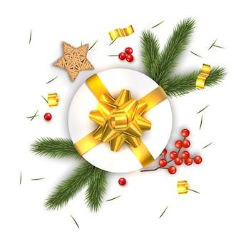 Weihnachtszusammensetzung auf weißem hintergrund. für grußkarte.