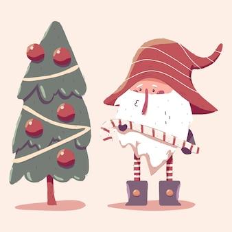 Weihnachtszwerg mit baumkarikaturillustration