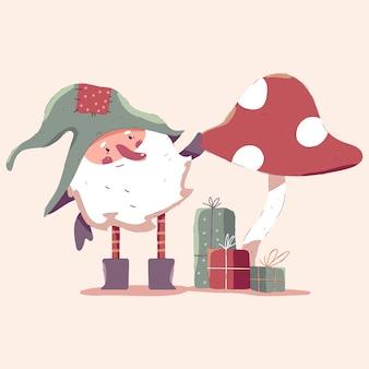 Weihnachtszwerg mit pilz- und geschenkbox-karikaturillustration