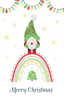 Weihnachtszwerg mit skandinavischem regenbogen cartoon weihnachtskartenvorlage