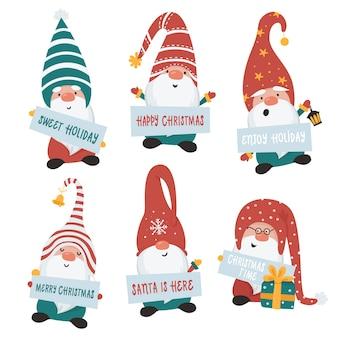 Weihnachtszwerge gesetzt. illustration für grußkarten, weihnachtseinladungen und t-shirts