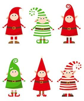 Weihnachtszwerge in gestreiften kostümen