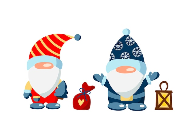 Weihnachtszwerge mit taschenlampe und geschenken auf weißem hintergrund