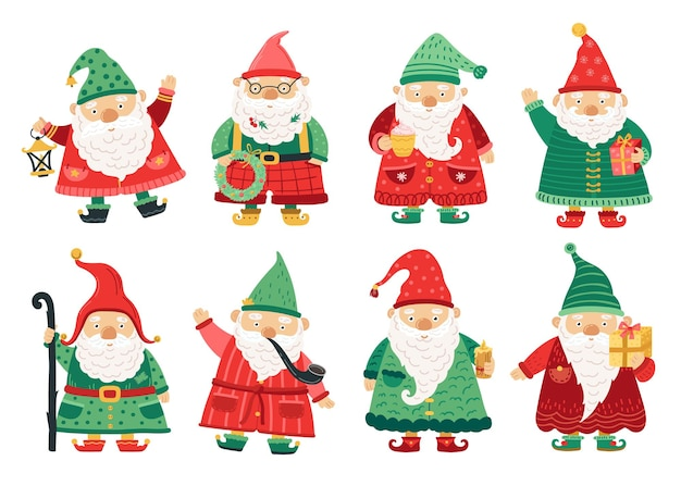 Weihnachtszwerge. netter märchengnome, alte bartmänner, die mit weihnachten grüßen. magische charaktere des hausgartens, winterferien-fantasy-vektorsatz. weihnachtsfeiertagscharakter, winterzwerg, weihnachtself des sets