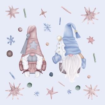 Weihnachtszwergenfamilie mit sternen und schneeflocken