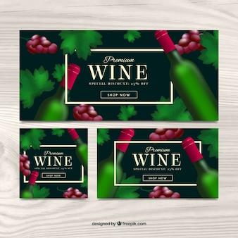 Wein-banner mit einer grünen flasche
