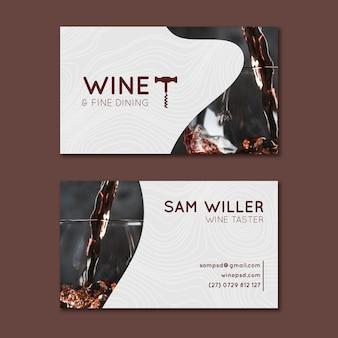 Wein doppelseitige horizontale visitenkarte