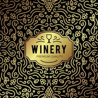 Wein glas und trauben vintage schriftzug hintergrund