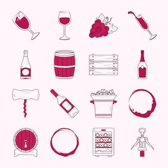 Wein-icon-sammlung im hintergrund