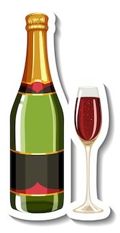 Wein im glas und flaschenaufkleber