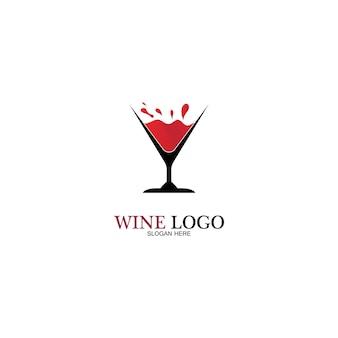 Wein-logo-design-vorlage. vektor-illustration des symbol-vektors
