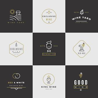 Wein-logo-set. alkohol-menü-logos mit flaschen und gläsern