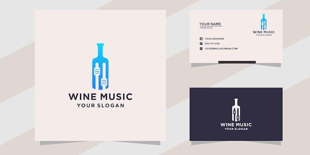 Wein mit musik-logo-vorlage