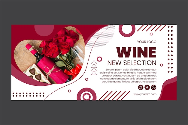 Wein neue auswahl banner vorlage