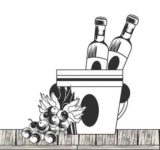 Wein schwarzweiss-zeichnung