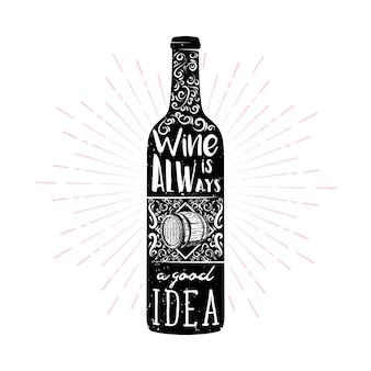 Wein themenorientierte typografieillustration im weinlesestil