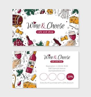 Wein- und käsebesuchskarte für ein geschäft oder café im doodle-stil