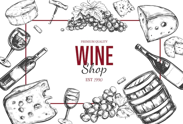 Wein vintage weinladenrahmen mit handgezeichneten illustrationen