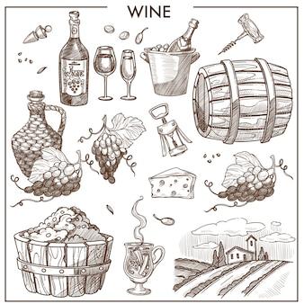 Wein werbeplakat in sepia-farben mit trauben und flaschen