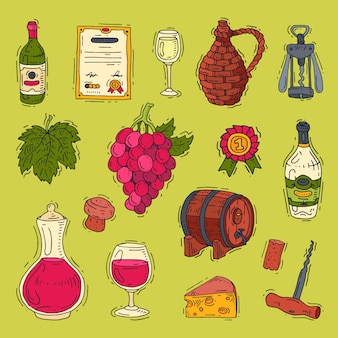 Weinalkohol in weinflaschen von weingut und weinglas mit weintrauben- oder weinrebenillustrationssatz des weinkellers lokalisiert auf hintergrund