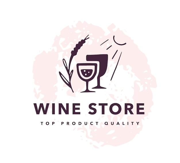 Weinalkohol-logo gesetzt lokalisiert auf weißem hintergrund. hand gezeichnetes weinglas, elemente, ikonen.